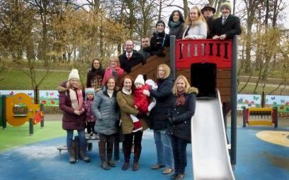 Winston Solicitors test the slides at the new Roundhay Park playground